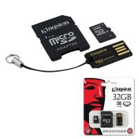 Карта памяти micro SDHC, 32 GB, Kingston, 10 Мб/сек. (class 10), два адаптера (SD, USB), MBLY10G2/32GB